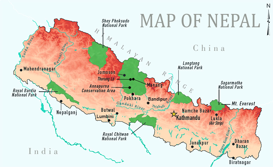 Nepal Tourist Map Map Of Nepal Nepal Tourism Map